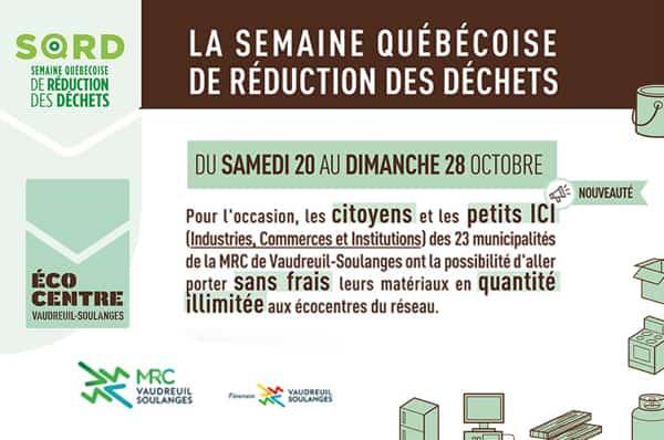 La MRC de Vaudreuil-Soulanges participe en grand à la Semaine québécoise de réduction des déchets