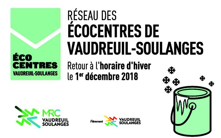 Retour à l'horaire d'hiver pour le Réseau des écocentres de la MRC de Vaudreuil-Soulanges