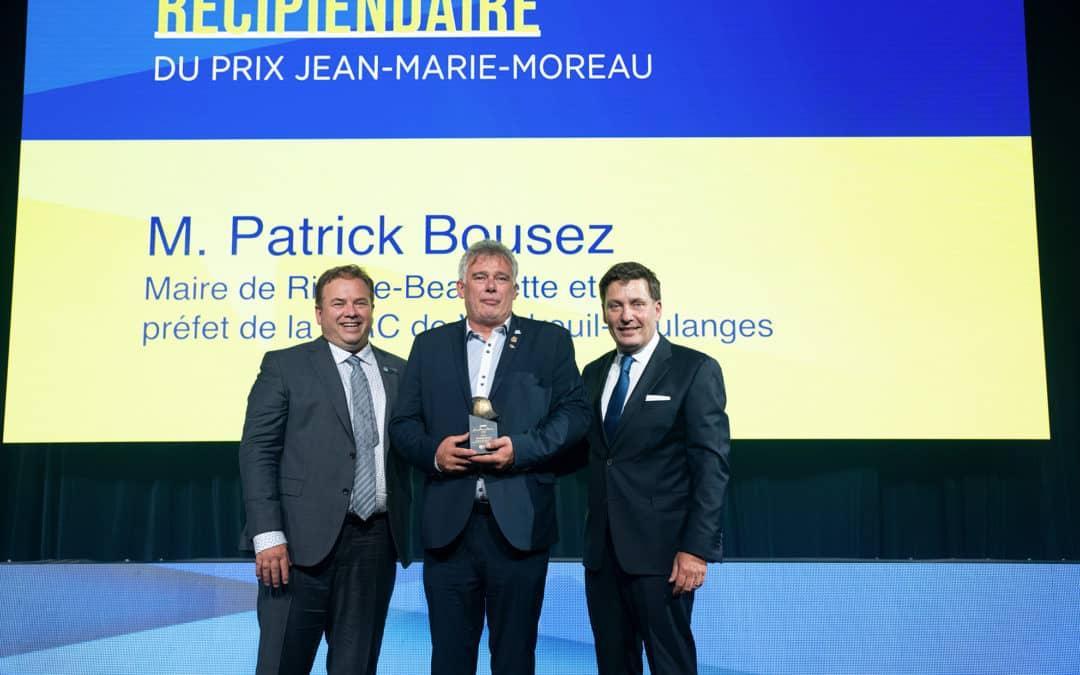 Patrick Bousez, maire de Rivière-Beaudette et préfet de la MRC de Vaudreuil-Soulanges, remporte le prix Jean-Marie-Moreau