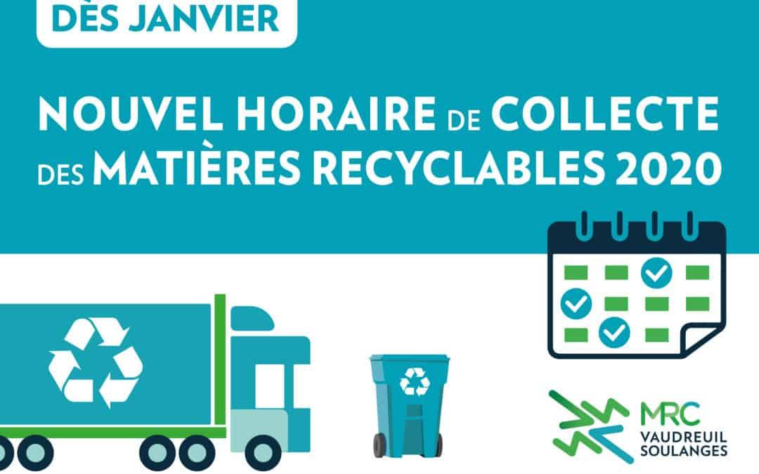 Changement du jour de la collecte des matières recyclables pour 17 municipalités de Vaudreuil-Soulanges