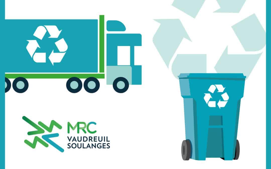 Surplus de matières recyclables acceptés du 7 au 13 janvier lors des prochaines collectes de Vaudreuil-Soulanges