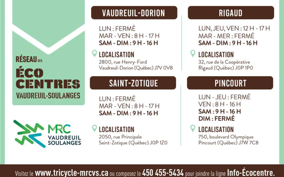 Changement d'horaire dans le Réseau des écocentres de la MRC de Vaudreuil-Soulanges et COVID-19