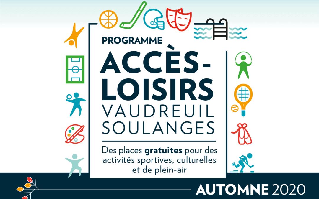 Accès-Loisirs est de retour cet automne avec une inscription simplifiée et sécuritaire!