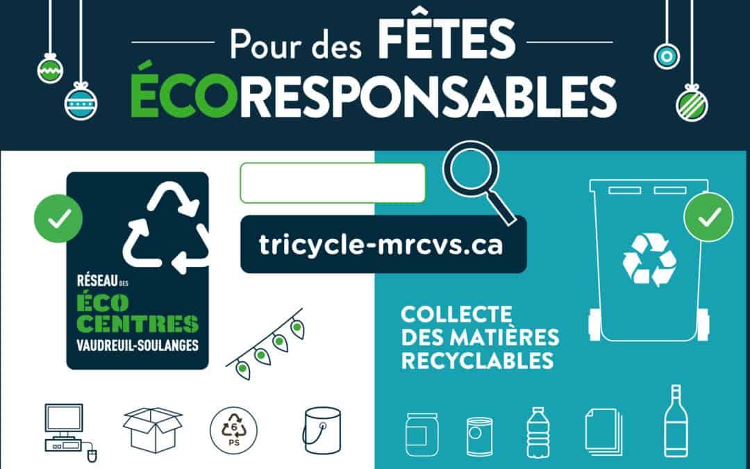 Période des Fêtes | Changement d'horaire pour la collecte des matières recyclables et le Réseau des écocentres de Vaudreuil-Soulanges
