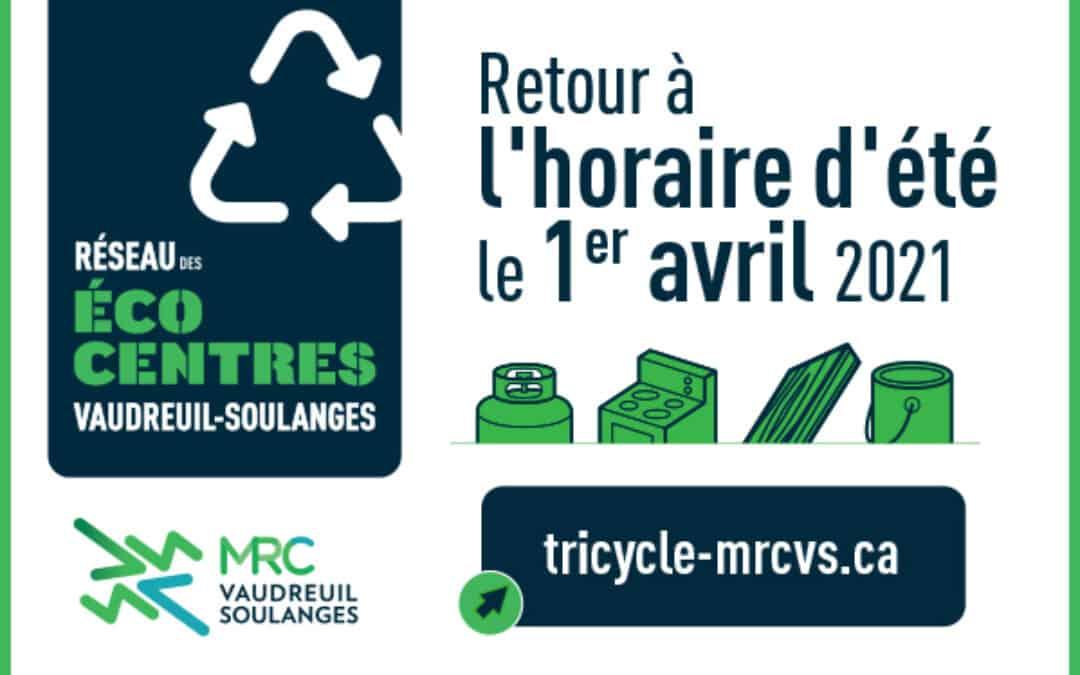 Retour à l'horaire d'été du Réseau des écocentres de la MRC de Vaudreuil-Soulanges
