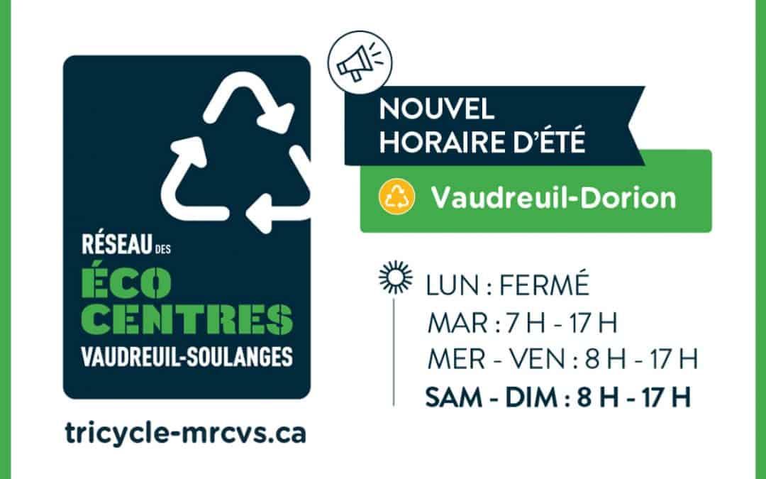 Nouvel horaire d'été pour l'écocentre situé à Vaudreuil-Dorion